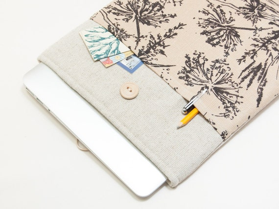 MacBook Air 13 case | SPECIAL OFFER - 35% OFF | Linen MacBook Air 13 sleeve. MacBook Pro 13 Retina. Padded Laptop case. Flowers print cover
