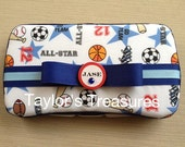 Taylors Treasures  -  Personalized Boys Sports Baby Wipes Case - Any Pattern/Color/Name
