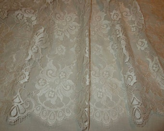 Light Ivory Floral Design SIlky Chantilly Lace Fabric--One Yard
