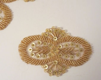 Bright Gold Beaded Applique--One Piece