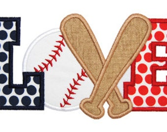 Baseball (or Softball) Love 3 Applique Design For Machine Embroidery INSTANT DOWNLOAD now available