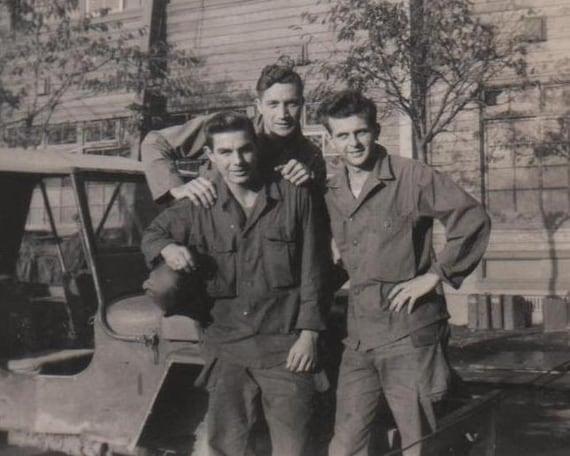 Vintage Photo WWII Snapshot 3 Very Handsome Soldier Buddies