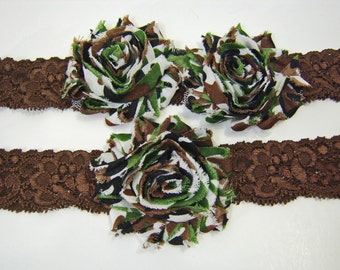 Camo Wedding Garter Set Brown or Black Stretch Lace with Camouflage Print Flowers Army Hunting Outdoor Wedding