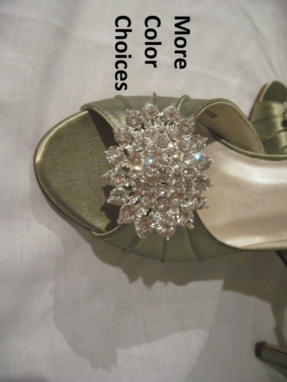 Items Similar To Wedding Shoes Sage Green Bridal Shoes Crystal Bling Brooch