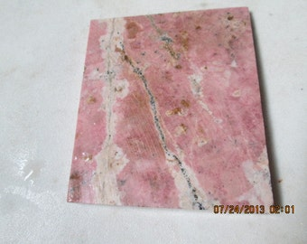 Rough Un-Polished Pink and Black  Rhodonite Cabbing Slab Square Cut