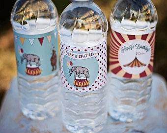 Circus Carnival Water Bottle Labels - Printable