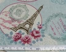 """Paris fabric - Amour romantic rose in Paris - half yard - cotton linen - vintage, 3 colors, Check out with code """"5YEAR"""" to save 20%"""