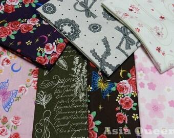 USD8.0 - Scrap bundle - sakura floral - 7 pieces  (46cm x 27cm) - 30% off - sale - cotton linen, patchwork fabric, flower sakura