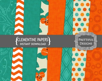 Premium Textured Digital Paper Pack  - Personal and Commercial Use - Clementine