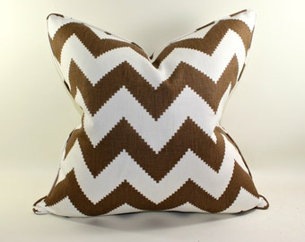 Kravet Jonathan Adler Cocoa Brown Chevron Pillow Cover, Cushion Cover, Decorative Pillow Cover
