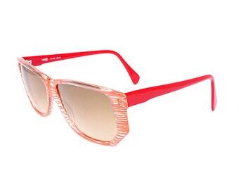 pink vintage sunglasses - 1980s transparent sunglasses - deadstock striped sun glasses - original 80s square retro womens eyewear