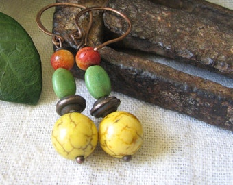 rustic yellow turquoise dangle earrings