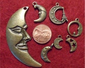 Moon Charms Antique Bronze - collection of 7