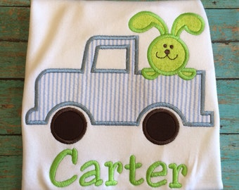 Boys easter tee and matching shorts with car and bunny by gigibabies