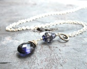 Iolite Necklace, Wire Wrapped, Sterling Silver, Blue Teardrop necklace, Water Sapphire, iolite jewelry