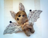 RESERVED  for Lora  . Mr Bat Henry Forrester, soft art  toy creature by  Wassupbrothers. Made to order