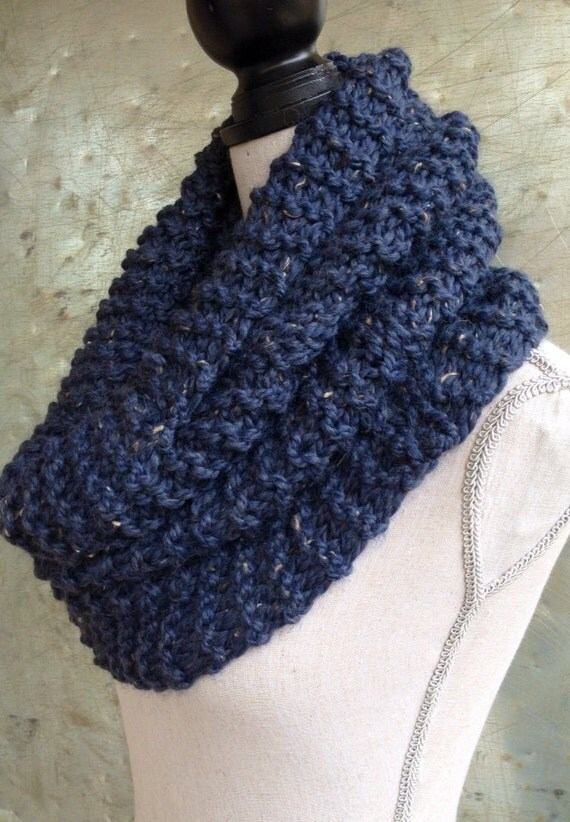 Infinity Scarf Circle Scarf Chunky Knit Cowl Blue Alpaca Tweed - Industrial Whimsy - Ready to Ship