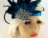 Great Gatsby Headband, Flapper Headband, Downton Abbey, Headband, 1920s Head Piece, Art Deco Headband, Turquoise and Black