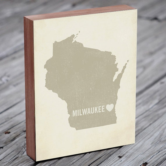 Milwaukee Art - Milwaukee Map - Milwaukee Print - Wood Block Art Print