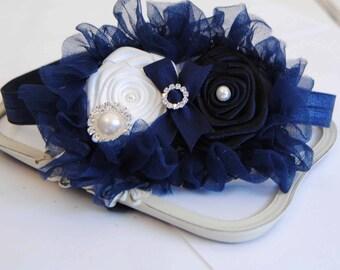Navy and White Roses Headband Baby Headband Girl Headband