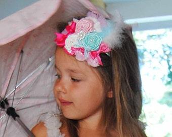 Sweet Dream  Roses Baby Headband Girls Headband  Shabby Chic Headband