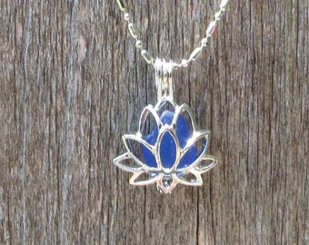 Sea Glass Lotus Flower Locket Cobalt Blue by Wave of LIfe™
