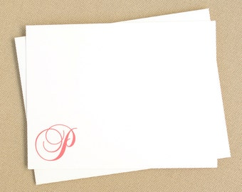 Simple Flat Custom Stationary with Script Monogram / Cursive Initial Personalized Notecard Set / Feminine Stationery Set