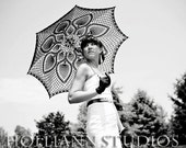 "46"" Black PINEAPPLE parasol, Victorian lace UMBRELLA, Photo session accessory, Steampunk, Gothic, Fall Wedding- Ready to Ship"
