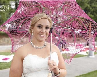 "48"" FUCHSIA Pineapple Crochet UMBRELLA PARASOL, Mothers Day Wedding, Summer Party Favor"