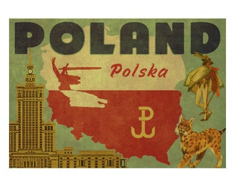POLAND 2F- Handmade Leather Postcard / Note Card / Fridge Magnet - Travel Art