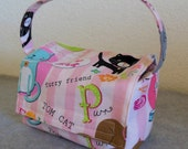 Kid's Insulated Lunch Bag - Kitties with Pink Stripes