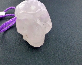 LuNaTiC PrIcInG ROSE QuArtz SKuLl Bead. DRiLLed. Victorian Style Skull Carving. Memento Mori. 1 pc. 49.50 cts. 17x22x20mm (Rq108)
