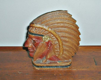 Native American Bookend Indian Headress Book End Library Study Office Home Decor Vintage