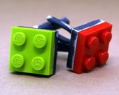 Building Block Cuff Links - Interchangeable Bricks - Sterling Silver - Antiqued Silver - Made With LEGO (R)