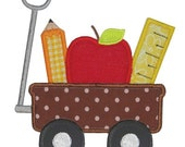 Back to School Wagon with Apple Pencil & Ruler Applique Shirt for Boys or Girls Custom Made