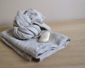 Linen Towels Organic Towels Natural Linen Towels Gray Bath Towels Pre washed Body Towels Undyed Eco Friendly Towels