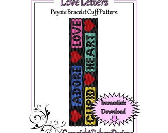 Bead Pattern Peyote(Bracelet Cuff)-Love Letters