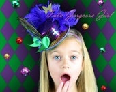 Mardi Gras Mini Top Hat...Purple Sequin & Peacock Feather Fascinator, Headpiece...Carnival Mini Top Hat . . . MARVELOUS MARDI GRAS
