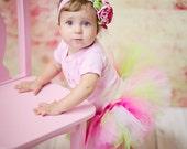 Spring Pastel Pink White and Lime Birthday Tutu...Pink and Green Portrait Tutu, Spring Easter Tutu, Cake Smash Tutu...SUGAR PIE