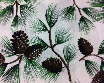 Christmas Pine with Glitter Cotton Fabric/Sewing Craft Supplies / Home Decor/ Quilting/Seasonal Print Fabric