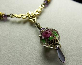 Purple Pink Rosebud Crystal Victorian Choker, Dangle Drop Necklace, Antiqued Gold Filigree Titanic Temptations Vintage Bridal Style Jewelry