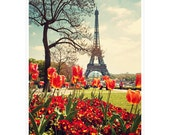 Eiffel Tower with Red Tulips - Springtime Paris Photography - home decor, retro, red, floral 8x12 and larger - Original Fine Art Photograph