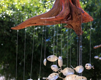 Spoon fish chime etsy for Koi fish wind chime