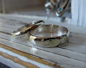 Sterling Silver and 18k Gold Vintage Wedding Band Set 2mm and 4mm Width