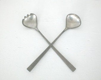 Vintage Mastad Pewter Salad Fork Spoon Serving Set Norway Mid Century 203 204