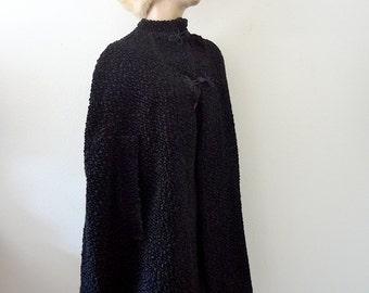 1940s Wool Cape / victorian style faux karakul wrap / vintage fall & winter outerwear