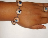 Creepy Blue Doll Eyes with Eyelashes Bracelet or Available As a Jewelry Set (Earrings, Ring, Bracelet), Halloween, Evil Eye, and Handcrafted