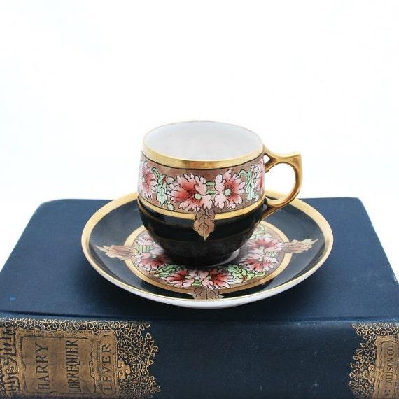 Antique Porcelain Pickard Demitasse Cup Saucer Mark 5 AK France Black Gold Floral