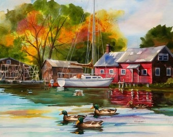 RED BOAT HOUSE ---Watercolor By Ray Lockhart----Watercolor workshops
