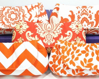 Bridesmaid Clutches Bridal Party Gifts Wedding Clutch Choose Your Fabric Orange Set of 8